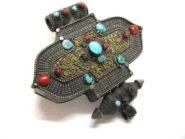 Antique Tibetan Gau, Silver Gilt, Turquoise, Coral